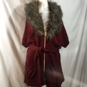 Burgundy faux fur cardigan by Love 21